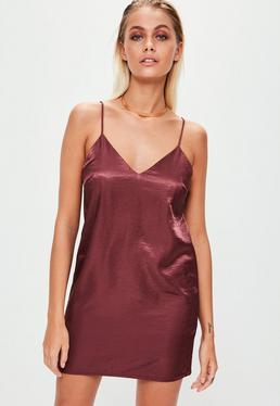 Purple Satin Slip Dress