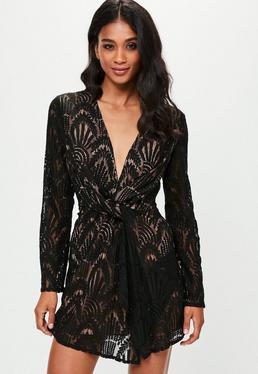 Black Lace Plunge Shift Dress