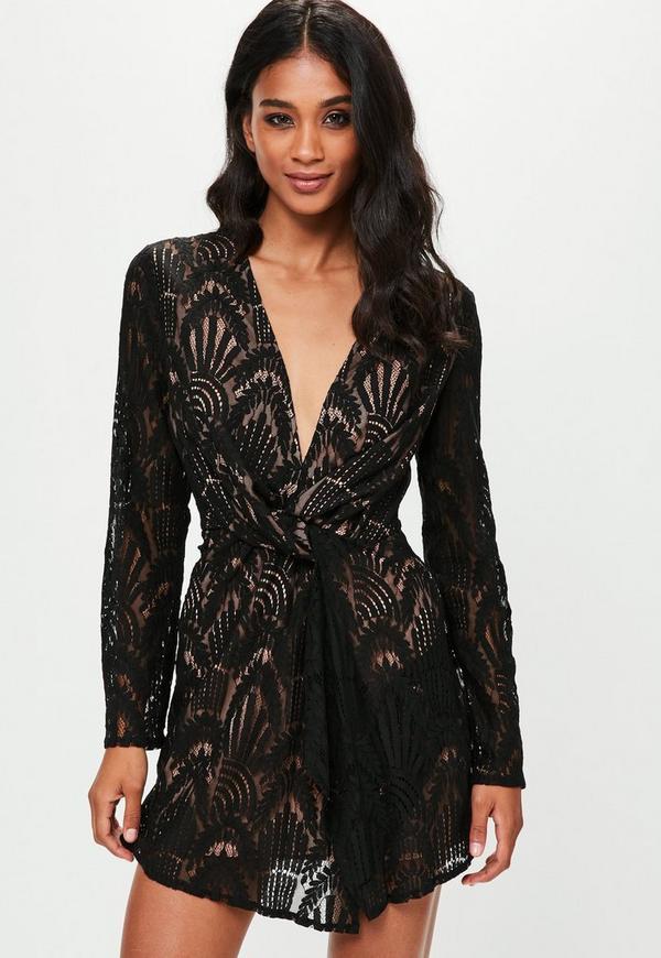 9cca9addfb6e ... Black Lace Silky Plunge Wrap Shift Dress. Previous Next