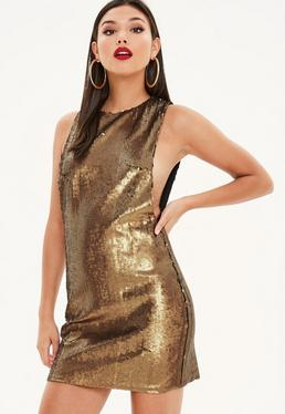 Bronze Sequin Drop Arm Shift Dress