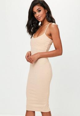 Pink Scuba Pearl Detail Midi Dress