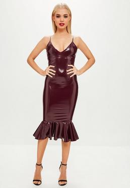 Burgundy Vinyl Plunge Frill Hem Midi Dress