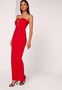 Bandeau Plunge Crepe Maxi Dress Red
