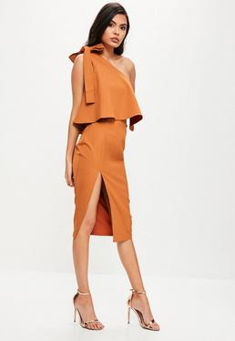 Orange One Shoulder Bow Sleeve Midi Dress