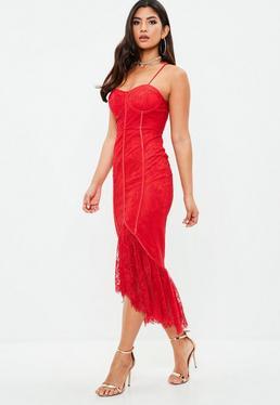 Red Lace Frill Midi Dress