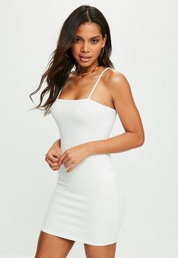 White Square Neck Strappy Bodycon Dress