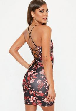 Black Plunge Lace Up Mini Dress
