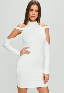 White Strap Shoulder Bodycon Dress