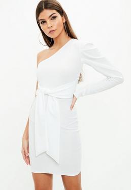 White One Shoulder Tie Waist Crepe Mini Dress