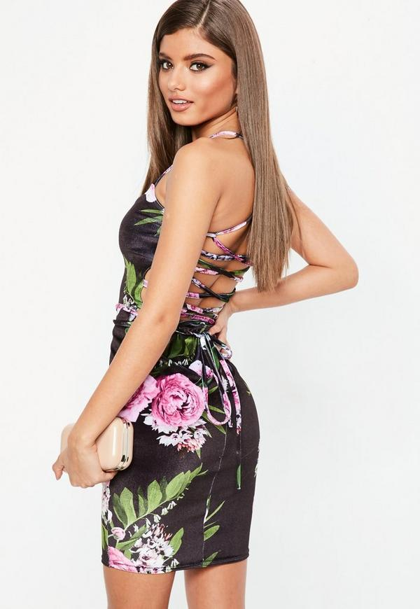 Black Floral Velvet Bodycon Dress Missguided
