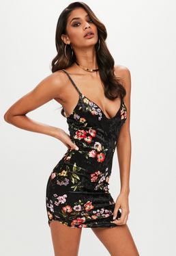 Black Floral Velvet Strappy Mini Dress