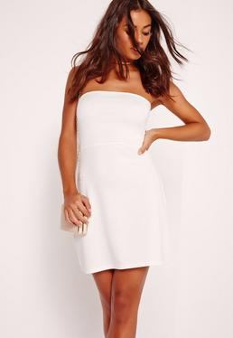 Bandeau A Line Skater Dress White