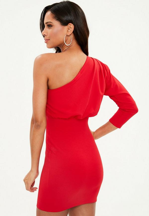 Ribbed skirt pleated bodycon dress one with shoulder kingdom pinterest
