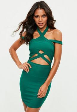 Green High Neck Strap Detail Waist Bodycon Dress