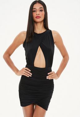 Black Double Layer Slinky Bodycon Dress
