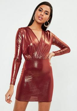 Red Shimmer Slinky Plunge Bodycon Dress
