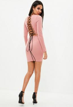 Pink Lace Up Back Long Sleeve Dress