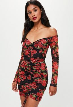 Black Printed Mesh Bardot Ruched Front Bodycon Dress