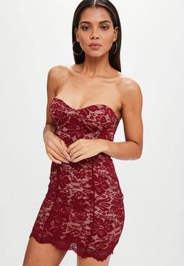 Burgundy Sweetheart Lace Bandeau Bodycon Dress