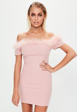 Pink Crepe Feather Trim Bardot Bodycon Dress