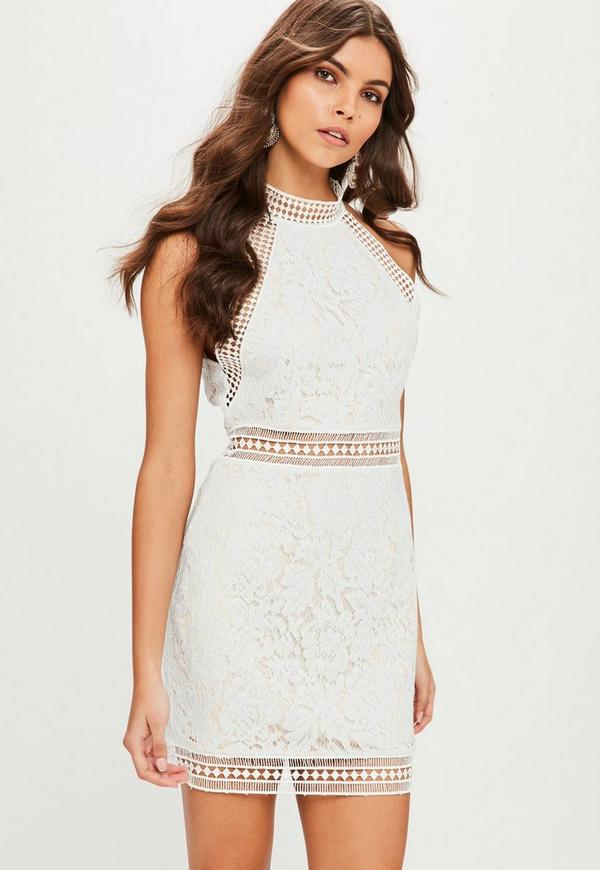 White High Neck Lace Bodycon Dress Missguided