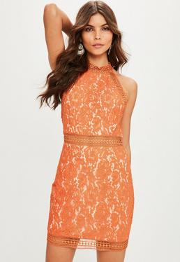Orange High Neck Sleeveless Lace Bodycon Dress