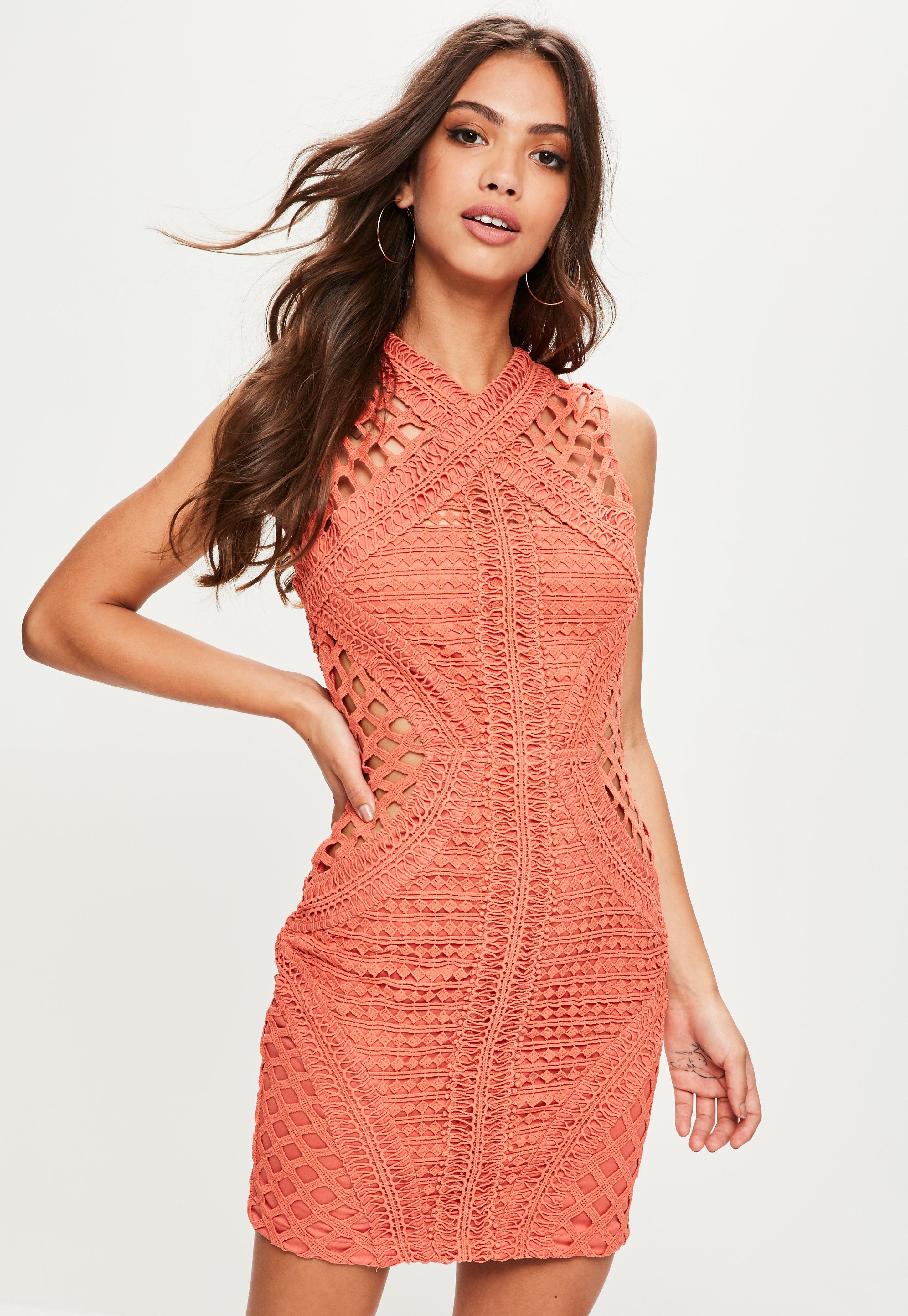 ... Orange High Neck Sleeveless Lace Bodycon Dress