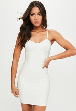 White Premium Bandage Bustcup Dress