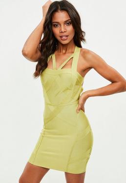 Premium Yellow Open Back Bandage Dress