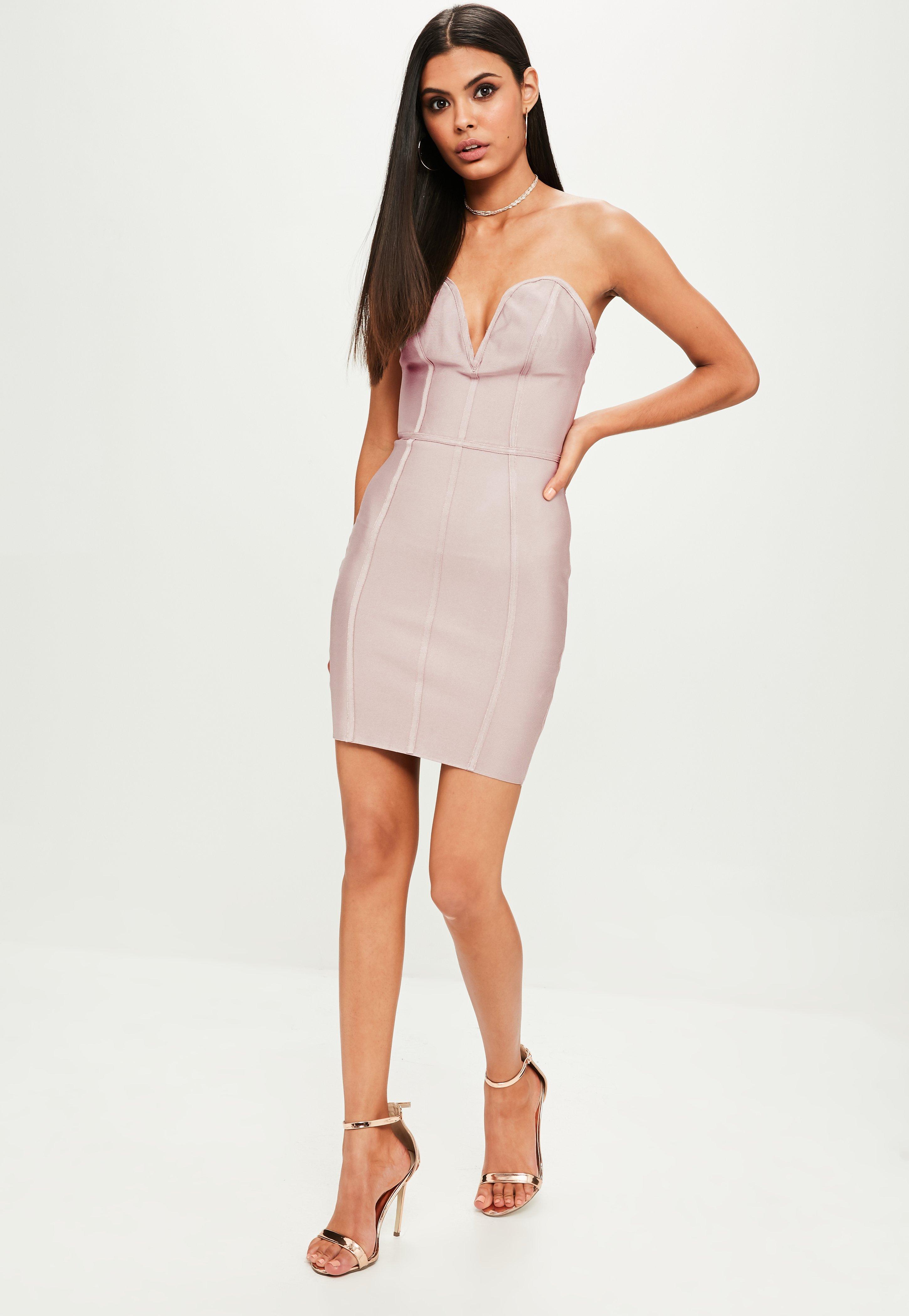8d627898060 Missguided Purple Bandage V Bar Bandeau Bodycon Dress at £40