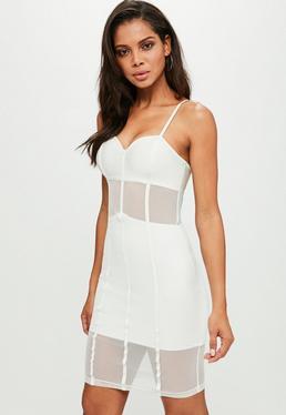 White Mesh Bandage Mini Dress