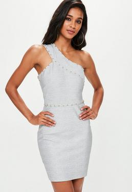 Grey Bandage Studded One Shoulder Bodycon Dress