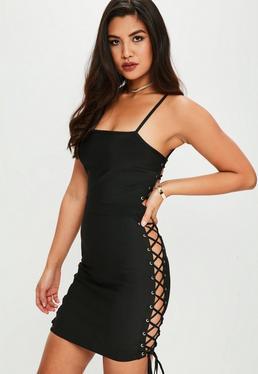 Black Premium Bandage Lace Up Dress