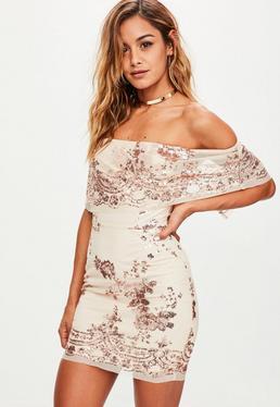 Nude Sequin Bardot Dress