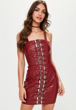 Red Faux Leather Buckle Detail Bodycon Dress