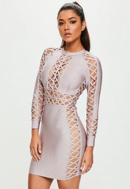 Purple Lattice Detail Bandage Dress
