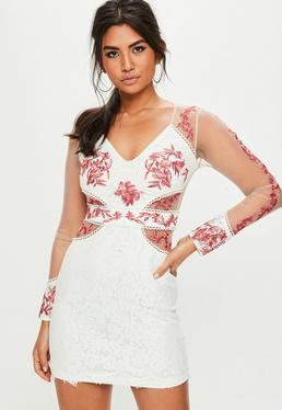 Pink Embroidered Lace Mesh Dress
