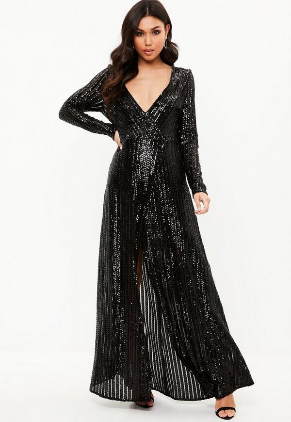 black sequin plunge long sleeved maxi dress missguided
