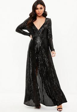 Czarna cekinowa sukienka maxi