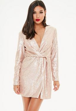 Cielista zawijana cekinowa sukienka mini