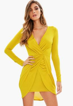 Yellow Slinky Plunge Long Sleeve Gathered Front Dress