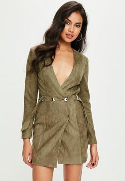 Green Faux Suede Blazer Dress