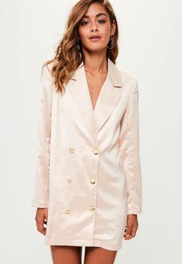 Nude Satin Button Front Blazer Dress