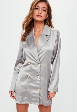 Grey Satin Button Front Blazer Dress