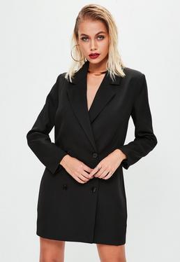 Vestido blazer de crepé en negro