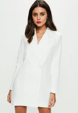 White Crepe Blazer Dress