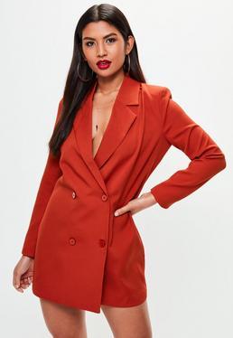 Vestido blazer de crepé en naranja