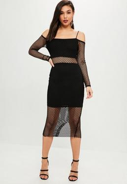 Black Long Sleeved Fishnet Maxi Dress