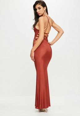 Orange Cowl Front Maxi Dress
