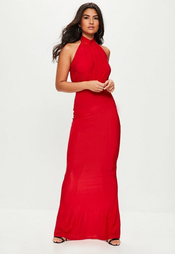 Vestido Largo Brillante Con Cuello Alto En Rojo Missguided